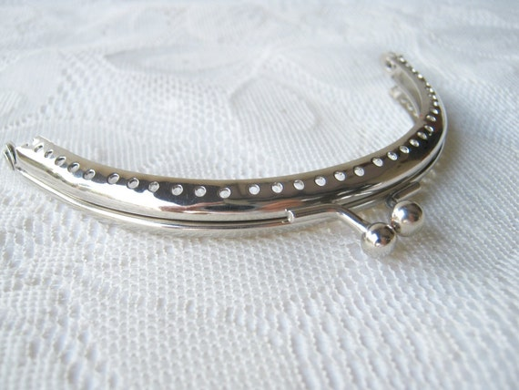 Purse frame Silver half round 10.5cm purse frame, bag frame ,clutch frame with sewing hole and clip clasp, kisslock