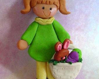 Chicken Rabbit Christmas Ornament Girl Egg Basket Nest Bunny Polymer Clay Milestone Cake Topper Birthday Spring Pigtails Chocolate