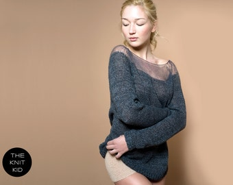 sweater bulky transparent mohair merino grey theknitkid