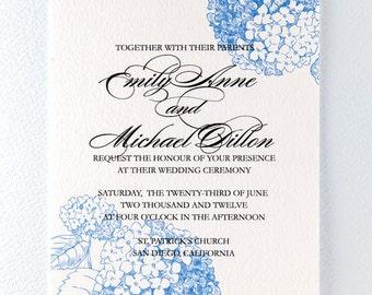 Printable Botanical Wedding Invitation - Blue Hydrangea 3