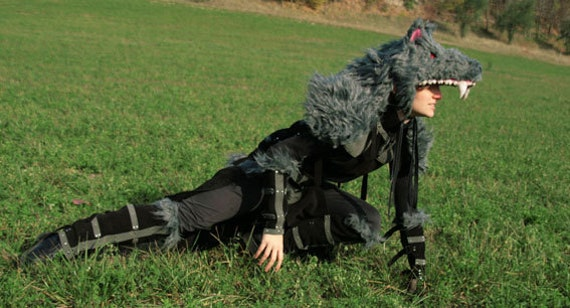 MADE TO ORDER - hunter set gray black faux fur wolf costume leather larp fantasy renaissance faire medieval pagan ritual burning man