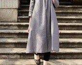 STOCK - Linen Tunic Dress Grey Dress , shirt dress, oversized dress, long dress, kaftan dress, casual day dress, grey dress, shirt tunic top