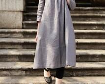 Linen Tunic Dress Grey Dress , Long Linen Dress, Linen shirt dress, oversized dress, linen kaftan dress, casual day dress, grey dress, boho