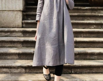 Linen Tunic Dress Grey Dress , Long Linen Dress, Linen Shirt Dress, Oversized Dress, Linen Kaftan Dress, Casual Day Dress, Grey Dress, Boho