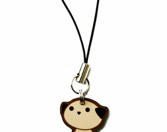 Pug Phone Charm, Dog Cell Strap, Cute Puppy Phone Accessory, Pug Lover Gift, Kawaii Dog Breed Charm, Fawn Pug