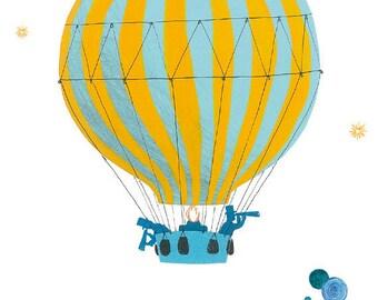 Children's poster : The balloon - kids wall art - kids poster - boy poster