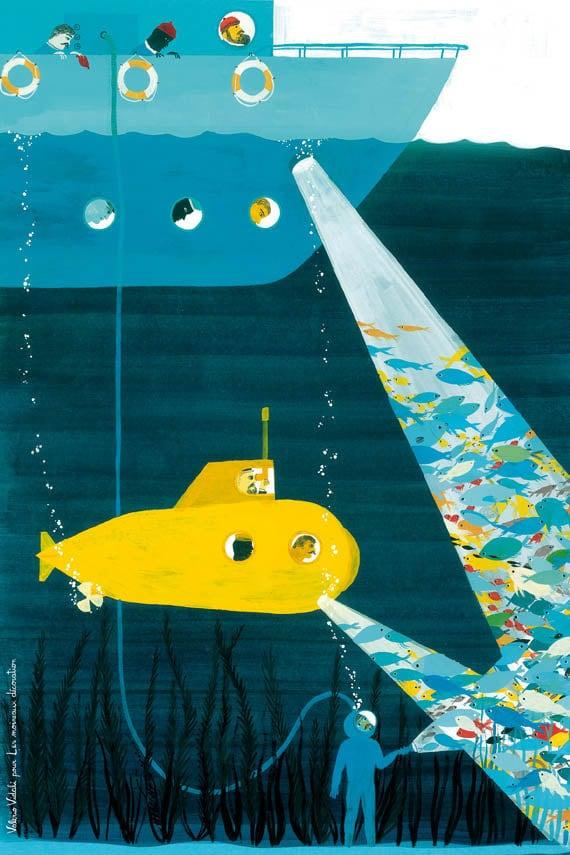 Children's art print poster : Under the sea - kids wall art - kids poster - kids art print