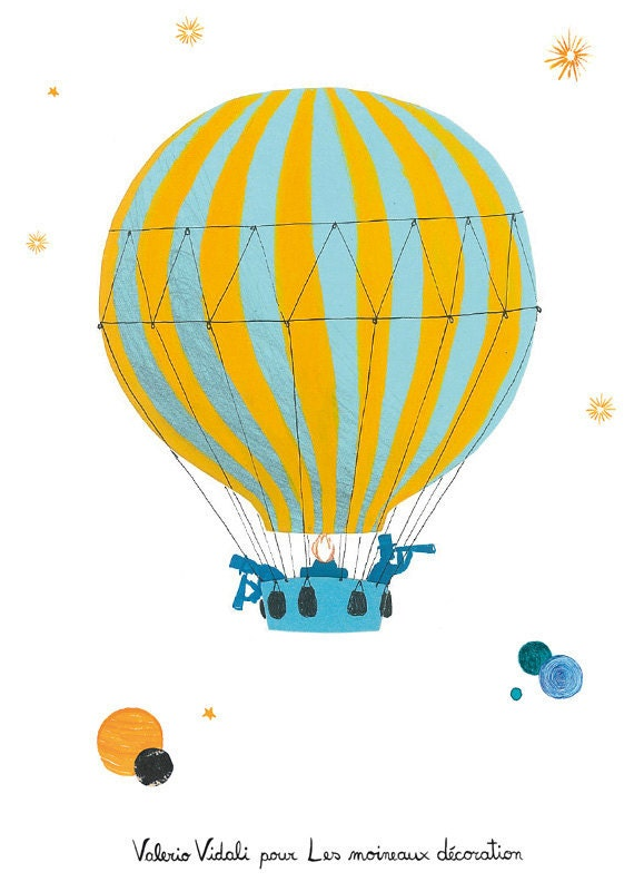 Children's poster : The balloon - kids wall art - kids poster - boy poster