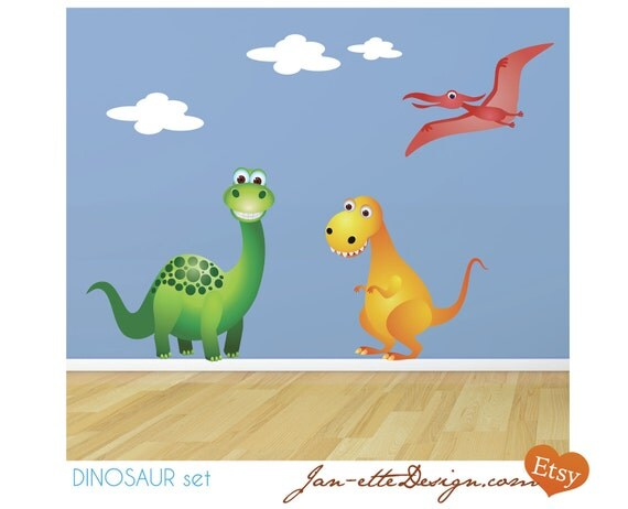 Childrens Wall Decals, Dinosaur Fabric Wall Stickers