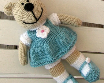 Toddler Toy - Hand Knit Teddy Bear Stuffed Animal - Knitted Toy - Kids Toy - Knit Teddy Bear - Plush Doll -Stuffed Bear - Small Toy - Brooke
