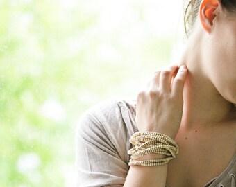 Beige Wood Bead Statement Handmade Bracelet