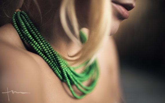 Green Wood Bead Statement Handmade Necklace
