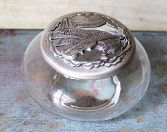 Violin Pewter and Glass Potpourri Jar - Music - Trinket Box - Jewelry Box - Home Decor - Sheet Music - Shabby Chic