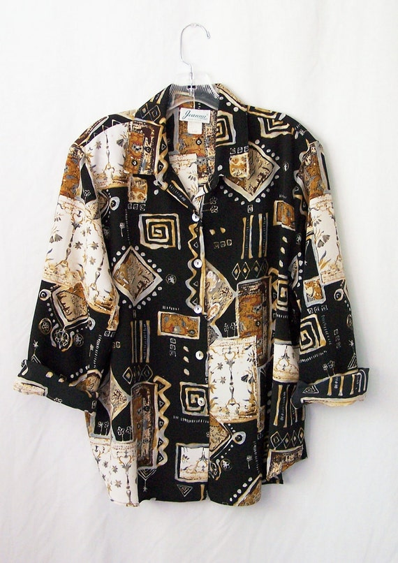 Vintage 1990's oversized blouse long sleeve tunic top earth tones abstract black white brown ethnic tribal women