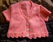 Hand knitted girls short sleeved v neck coral cropped cardigan, layering cardigan to fit approx. 12-24 months 1-2 years Birthday gift