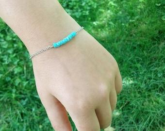 Dainty Bracelet, Turquoise Bracelet, Womens Jewelry, Beach Wedding Bracelet, Minimal Bracelet, Simple Bracelet, Aqua Bracelet, Bridal Gift