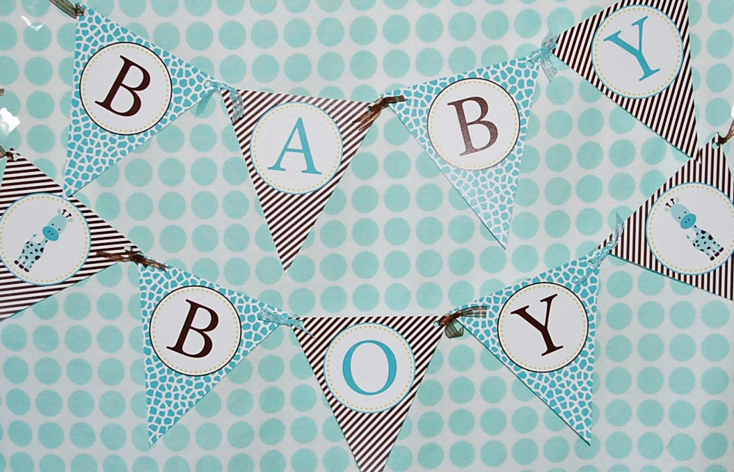 Giraffe Baby Shower Printable Baby Boy Banner Instant