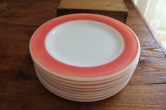 Vintage Pyrex Flamingo Red Band Luncheon Plates Set of 8