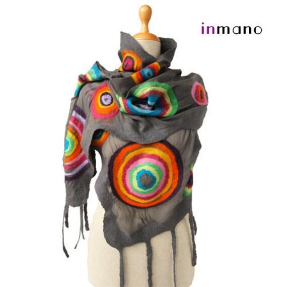 SALE!!!  handmade felted scarf gray multicolor circles (rainbow scarf), silk wool nuno felted fairy scarf, felted eco shawl, wrap art