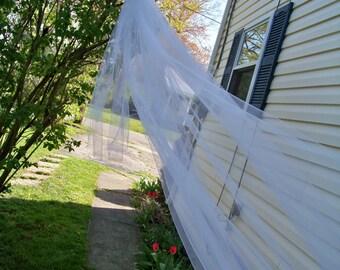 Custom Long Royal Cathedral Length Wedding Veil Blusher 2 Tier Organza Ribbon Edge