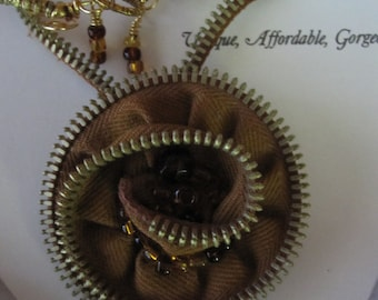 Zip It Jewelry - Amber Zipper Necklace