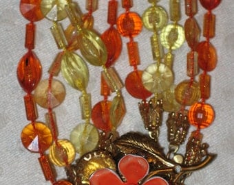 Vintage 1950s 1960s 5-Strand NECKLACE Yellow and Orange Beads
