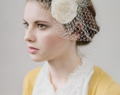 Romantic / Bridal / Weddings / bridal hair piece with little veil/ flower ivory wedding head piece