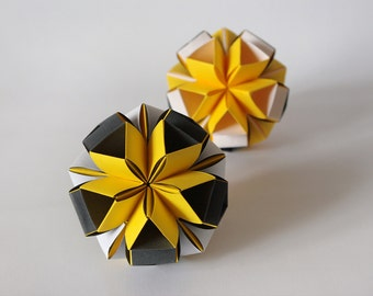 """Christmas modern ornaments - Origami decoration - """"Day Night"""" - Modern home interior - Paper balls,yellow, black, white"""