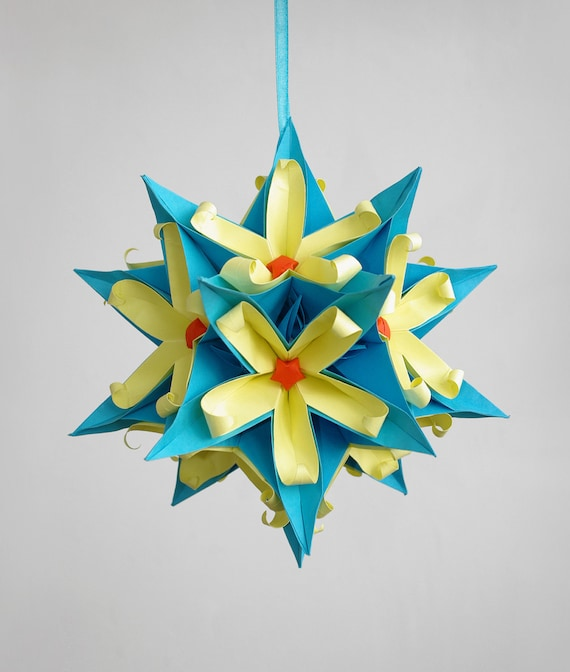 Mobile -  Japan Flowers - Hanging paper mobile - big size - blue, yellow - Floral Arrangement - home decor - eco - anniversary