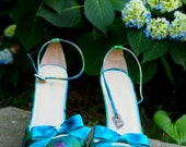 "Bridal Shoes; 3.5"" Heels; Monet Design in Blues and Greens; One of a Kind; Size 10; Fast Shipping!"