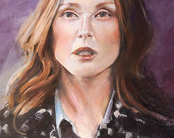 "Pastel portrait, woman, actress Julianne Moore, by artist Vernon Grant 16"" x 20"" soft pastel original art on archival Canson paper"