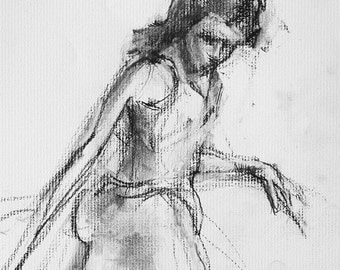 "Drawing woman, fine art digital print from original charcoal drawing by artist, Vernon Grant, large size print 24"" x 30"", Woman in Heels"
