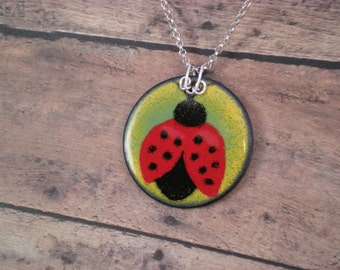 Ladybug Enamel on Copper Pendant with Sterling Silver