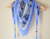 Cotton tringle scarf designed with naturel gemstone and tibetan silver chams mother's day gifts women's fashion gifts birthday gifts