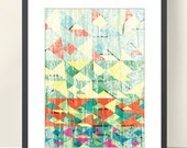 Geometric Art Poster, Tangram Abstract Art, A3 Poster Art Print, Good Mood Home & Office Wall Decor. Colorful, Geometric shapes.