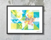 GEOMETRIC ART, Abstract Poster A3, Tangram Wall Decor. Geometric Art Print for Home & Office Wall Decor. Turquoise, Lime Green