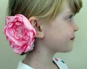 Valentine blushing pink silk flower hair clip with pearl beads wedding prop photo prop flower girl clippie bridal