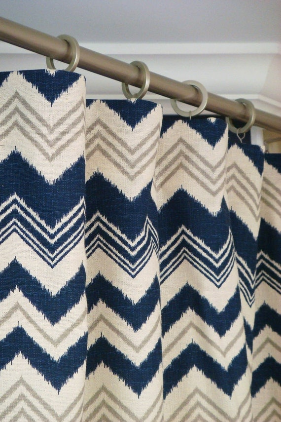 Items Similar To Navy Blue Gray Natural Beige Ikat Chevron