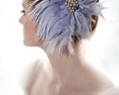 Blue Feather Flower Vintage Bead Bridal Fascinator