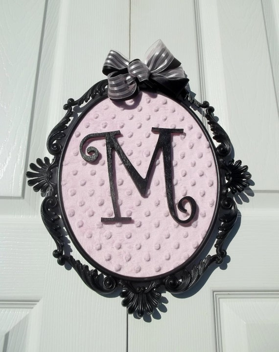 Vintage Metal Frame Paris Apartment French Boudoir Framed Initial Framed Fabric Upcycled French Decor Pink and Black Nursery