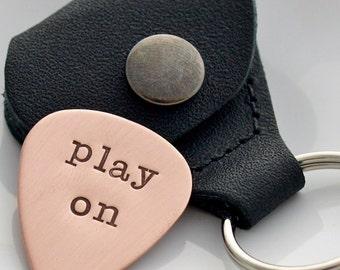 Personalized Guitar Pick, Copper HandStamped Guitar Pick, Leather Holder Keychain, Custom Keyring Gift
