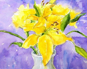 """Lively yellow flowers original watercolor painting, stunning purple toned background on Arches watercolor paper 9"""" x 12"""" Yellow Lilies"""
