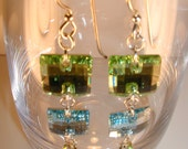Aquamarine Earrings,Peridot Earrings,Blue & Green Earrings,Swarovski Crystal Earrings
