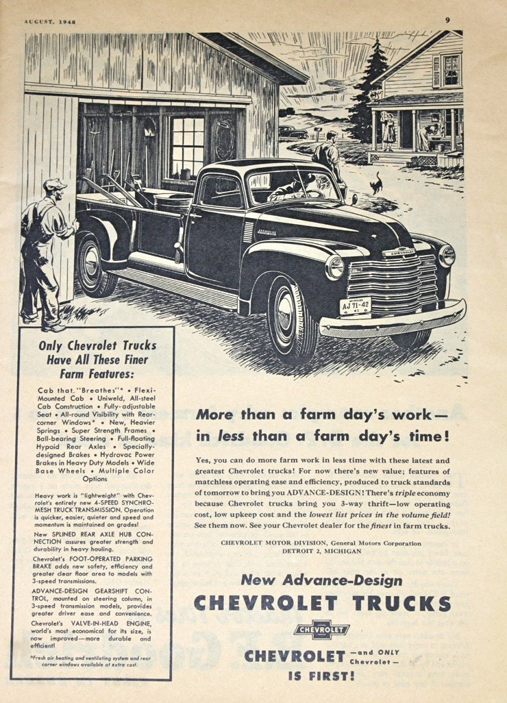 Chevrolet Truck Ad Vintage 1940s Farmer's Journal by ...