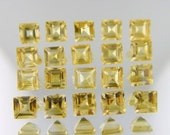 Yellow  Citrine  Loose Gemstone--Natural 4x4mm Square 15 -Stone Lot