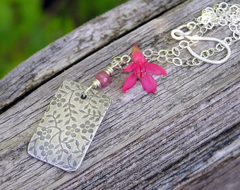 sterling silver flower pendant and pink sapphire gemstone necklace. dainty necklace. september birthstone. flower embossed necklace. OOAK.