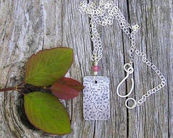 SALE. sterling silver flower pendant and pink sapphire gemstone necklace. dainty necklace. september birthstone. flower ecklace. OOAK.