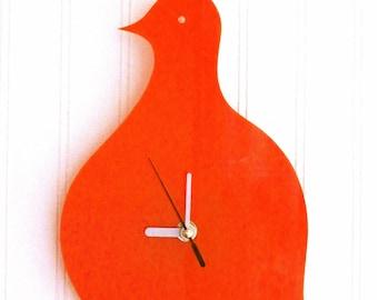 Orange Quail Wall Hanging Clock