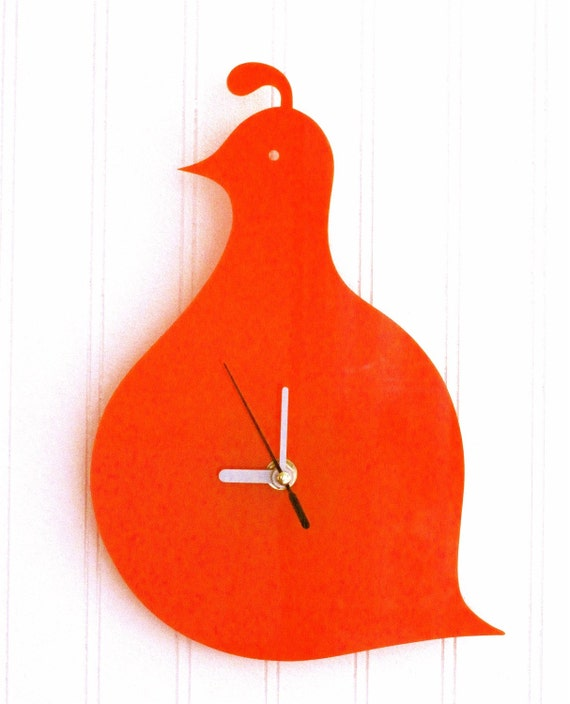 Orange Quail Wall Hanging Clock