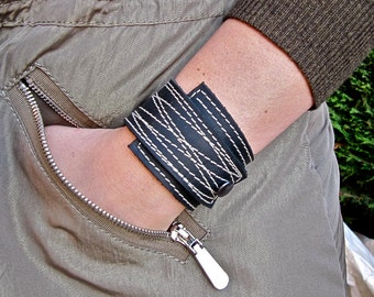 Black Leather Cuff Wrap Unisex, Stitched, Adjustable Size * SALE * Coupon Codes
